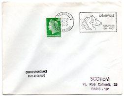CALVADOS - Dépt N° 14 = DEAUVILLE 1972 = FLAMME à DROITE = SECAP Illustrée D'un CHEVAL ' COURSES En AOUT ' - Postmark Collection (Covers)