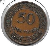 *guinea Bissau  Portugees Guinea 50 Centavos 1946km 6 Vf+ - Guinea-Bissau