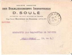 Hautes Pyrénées :- P.P. * BAGNERES DE BIGORRE * Sur Devant D'enveloppe D.SOULE - Marcophilie (Lettres)
