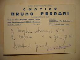 1949  CANTINE  BRUNO FERRARI  REGGIO EMILIA   CARTOLINA D'ORDINE - Pubblicitari