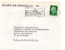CALVADOS - Dépt N° 14 = DEAUVILLE 1969 ? = FLAMME Codée = SECAP Illustrée D'un CHATEAU  'PLAGE FLEURIE ' + MAIRIE - Postmark Collection (Covers)