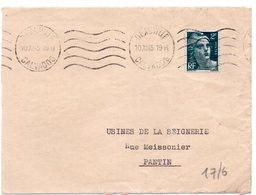 CALVADOS - Dépt N° 14 = DEAUVILLE 1945 = FLAMME KRAG Muette '5 Lignes Ondulées' - Postmark Collection (Covers)