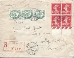 BEAUNE 16 6 1928 Navilly Doubs Recommandé Tarif 1.75F Timbres 3 Ex 5c Type Blanc Et Bloc De 4 Semeuse 40c Vermillon - Marcophilie (Lettres)