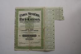 Union Minière Du Haut-Katanga 1/10 De Part Sociale, Coupons De Dividende - Afrique