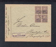 Romania Cover 1918 9. Armee Block Of 4 - World War 1 Letters