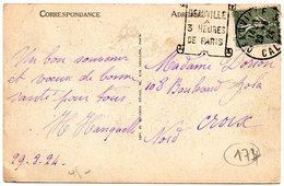 CALVADOS - Dépt N° 14 = DEAUVILLE 1924 = FLAMME  DAGUIN   ' À 3 HEURES DE PARIS ' Sur CARTE POSTALE - Marcophilie (Lettres)
