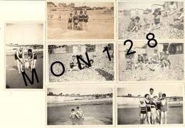 CRIEL SUR MER - 16 PHOTOS DE FAMILLE ANNEES 50 -SCENES DE PLAGE CABINES ENFANTS MAILLOTS DE BAIN-DIM 11x6,5 Cms - Places