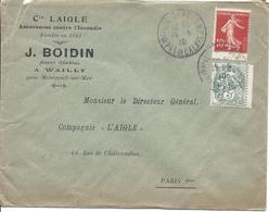 WAILLY BEAUCAMP PAS DE CALAIS 15 8 1910 Pour Paris Tarif 1.10F Timbres 5c Blanc + 10c Semeuse N°135 T3 - Marcophilie (Lettres)
