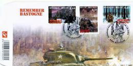 2004-FDC REMEMBER BASTOGNE 60ANS BATAILLE DES ARDENNES-NUTS -3timbres-oblitérés à 6600-BASTOGNE - 2001-10
