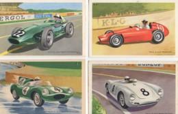 Beau LOT De 6 Cartes Illustrées Des Années 50  Voitures De Courses (, Ferrari , Jaguard , Porsche ...) - Cartes Postales