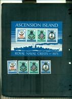 ASCENSION BLASONS DE LA MARINE ROYALE III 4 VAL + BF NEUFS A PARTIR DE 2 EUROS - Ascension (Ile De L')