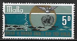 MALTE    -   1969.   Y&T N° 392 Oblitéré.  Utilisation Des Océans à Des Fins Pacifiques  /  ONU. - Malta