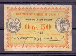 Aof  Cote D'ivoire Ivoorkust 0.50 Fr 1917  Rare - Côte D'Ivoire