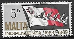 MALTE    -   1969.   Y&T N° 396 Oblitéré.   Drapeau  /  Oiseaux - Malta
