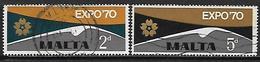 MALTE    -   1970.   Y&T N° 411 / 412  Oblitérés.    Expo Osaka 70 - Malta