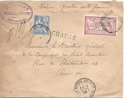 25c Mouchon N° 127 + Merson 40c N° 119 Lettre CHARGEE LE MESNIL AUZOUF Calvados 14 3 1904 Pour Paris - 1900-02 Mouchon