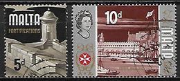 MALTE    -   1970.   Y&T N° 414 / 415  Oblitérés.    Fortifications  /  Arsenal Naval  /  Bateau - Malta