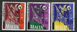 MALTE    -   1970.   Y&T N° 416 à 418  Oblitérés.   ONU.  Série Complète - Malta