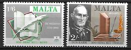 MALTE    -   1971.   Y&T N° 422 à 423 **.   écrivains.  Livres  /  Plume.  Série Complète - Malta