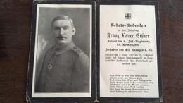 Sterbebild Wk1 Bidprentje Avis Décès Deathcard IR8 AUSING Grab 63 Russland - 1914-18