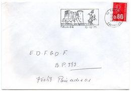CALVADOS - Dépt N° 14 = FALAISE 1975 = FLAMME Codée  = SECAP Illustrée D'un Cavalier 'CHATEAU - églises' - Postmark Collection (Covers)