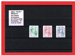 2013 - MARIANNE De  CIAPPA Et KAWENA - NEUFS** - ROULETTES  N° 4778 à 4780 - 3 TIMBRES - COTE Y & T : 6.00 Euros - 2013-... Marianne Of Ciappa-Kawena