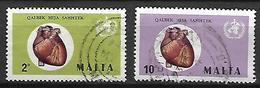MALTE    -   1972.   Y&T N° 438 / 439 Oblitérés .   Mois Mondial Du Coeur /  OMS - Malta