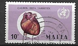 MALTE    -   1972.   Y&T N°  439 Oblitéré  .   Mois Mondial Du Coeur /  OMS - Malta