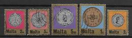 MALTE    -   1972.   Y&T N°  441 à 445 Oblitérés  .   Pièces De Monnaie - Malta