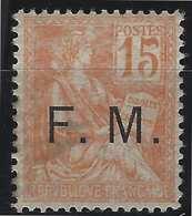 France Timbre De Franchise Militaire N°1* 15c Mouchon Signé Calves - Franchise Stamps