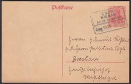 Bayern Bahnpost EGER - WIESAU 1921 Ganzsache Nach Breslau  (23069 - Timbres