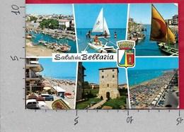 CARTOLINA VG ITALIA - Saluti Da BELLARIA (RN) - Vedutine Multivue - 10 X 15 - ANN. 1973 FEDERAZIONE CALCIO - Saluti Da.../ Gruss Aus...