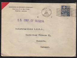 """JAPON - POSTE MARITIME - TOKYO / 1928 LETTRE PAR """"S. S. EMP. OF RUSSIA"""" POUR L'ALLEMAGNE (ref LE2828) - 1926-89 Empereur Hirohito (Ere Showa)"""