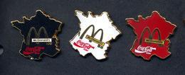 Pin's Carte De France Mac Donald's Coca Cola  3 Couleurs - McDonald's