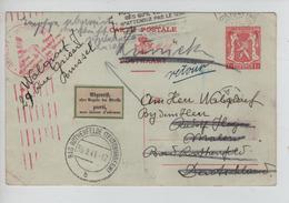 2626/ Entier CP 132 C.BXL 1941 Censure Méc. V.Allemagne étiq.bilingue Parti Manuel Zurück-Retour - Guerre 40-45