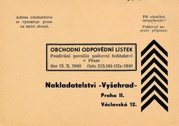 "N0089 - Böhmen Und Mähren (1940) Business Responsibility Correspondence Ticket (publishing House ""Vysehrad"") - Bohême & Moravie"