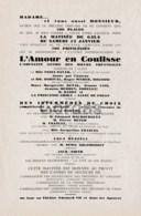 """France - Program - Theatre Edouard VII - """"L'Amour En Coulisse"""" - Programmi"""