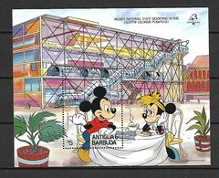 Disney Antigua & Barbuda 1989 PHILEXFRANCE - Musee National D' Art  Moderne MS MNH - Disney