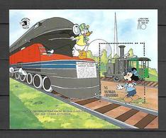 Disney Antigua & Barbuda 1989 Train -Donald - Mickey MS MNH - Disney