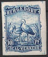 Epreuve D'un Timbre De La Poste Locale Allemande De Bergedorf Sur Carton (1887): Cigogne Avec Une Grenouille Dans Le Bec - Storks & Long-legged Wading Birds
