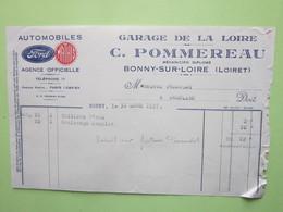 Facture Document AUTOMOBILES FORD, MATHIS, GARAGE DE LA LOIRE, C.POMMEREAU à BONNY-SUR-LOIRE (45) Le 31/03/1937 - Automobile