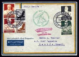 RARE POSTE AÉRIENNE PAR GRAF ZEPPELIN 1934- DERNIER VOYAGE ALLER DIT DE NOËL AU BRESIL- 1-6-34- 2 SCANS - Airmail