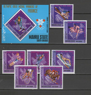 Aden - Mahra State 1968 Olympic Games Mexico, Rowing, Cycling, Equestrian Etc. French Winners Set Of 7 + S/s MNH - Sommer 1968: Mexico