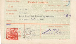 N0101 - Czechoslovakia (1923) Dirna / Sobeslav (postal Money Order); Tariff. 1 Kc (postage Due Stamp!) - Tschechoslowakei/CSSR