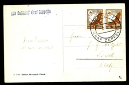 POSTE AÉRIENNE PAR GRAF ZEPPELIN 1936-  CARTE PHOTO- VOYAGE INTERIEUR EN ALLEMAGNE- 2-4-36- 2 SCANS - Luftpost