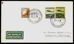POSTE AÉRIENNE PAR GRAF ZEPPELIN 1936-  7 Eme VOYAGE ALLER AMERIQUE DU SUD- 31-7-36- 2 SCANS - Luftpost