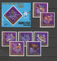 Aden - Mahra State 1968 Olympic Games Mexico, Rowing, Cycling, Equestrian Etc. French Winners Set Of 7 + S/s Imperf. MNH - Sommer 1968: Mexico