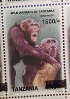 TANZANIA, 2018,MNH, PRIMATES,CHIMPANZEES, 1v,OVERPRINT - Schimpansen