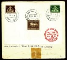 POSTE AÉRIENNE PAR GRAF ZEPPELIN 1936- RARE : UNIQUE VOYAGE INTERIEUR FOIRE DE LEIPZIG- 30-8-36- 2 SCANS - Luftpost