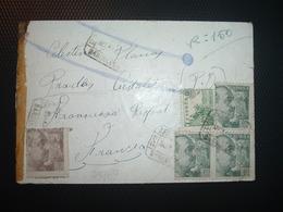 LR TP 40c X3 + TP 15c + TP 5c OBL.8 MAR 40 BARCELONA + CENSURA MILITAR BARCELONA - 1931-Heute: 2. Rep. - ... Juan Carlos I